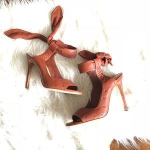 Pour La Victoire Shoes - Pour LA Victoire Peep Toe Tie Ankle Stilettos